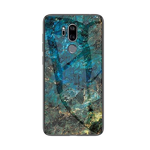 Brand Set Hülle für LG G7 ThinQ Rückseite aus gehärtetem Marmorglas & Hybrid-Hartschalenkoffer aus Silikon,stoßfest & Kratzfest Handyhülle für LG G7 ThinQ (Blau)