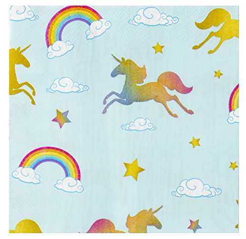 Cocktail Napkins - 150-Pack Luncheon Napkins, Disposable Paper Napkins Unicorn Party Supplies for Kids Birthdays, 2-Ply, Unfolded 13 x 13 inches, Folded 6.5 x 6.5 inches