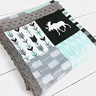 Moose & Arrows Minky Baby Blanket in Mint & Navy (3 Sizes, Personalize with embroidery on back)