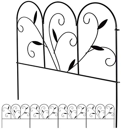 DearHouse 4Pack Decorative Garden Fence. 24 in x 9 ft Black Iron Landscape Wire Fencing Ornamental Panel Border Edge Section Edging Patio Flower Bed Animal Barrier for Dog Outdoor Fences