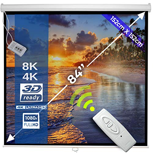 Schermo per Proiettore Elettrico 152x152cm - 85'' / 215cm, Formati 1:1, 4:3, 16:9, HDTV, Fattore Guadagno 1.0, Altezza regolabile - Schermo di Proiezione, Telo da Videoproiettore, Telecomando