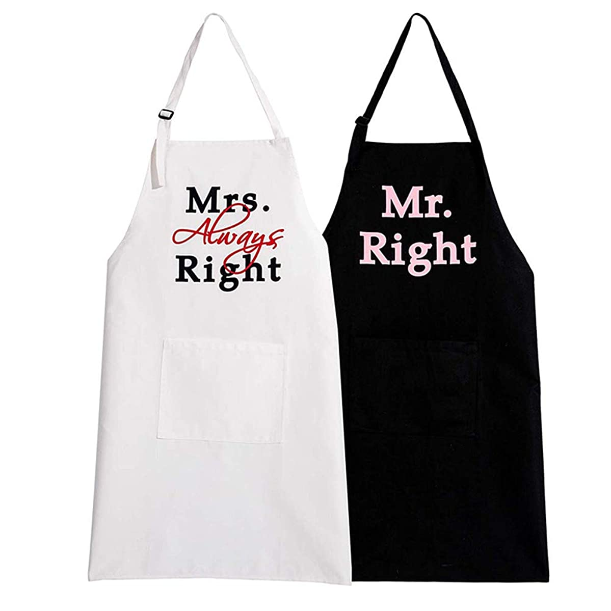 FLYMEI Wedding Apron Bridal Shower Gifts, Cooking Apron for Women/Engagement Gift/Anniversary, Kitchen Apron Set, Cotton Couple Cooking Aprons with Pockets
