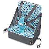 Minnebaby Travel Booster Seat for Dining with Toddlers at Home and On-The-Go, Folding Baby Chair with 5-Point Safety Harness Straps and Storage Pocket (Update Version)
