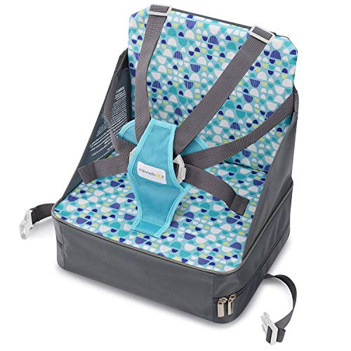 Lowest Price! Minnebaby Travel Booster Seat for Dining with Toddlers at Home and On-The-Go, Folding Baby Chair with 5-Point Safety Harness Straps and Storage Pocket (Update Version)