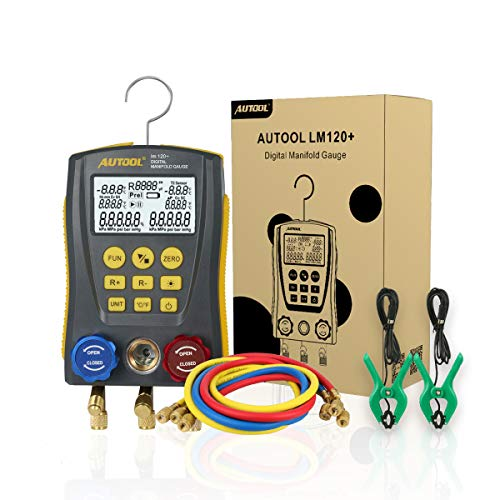 Refrigeration Gauges Digital Manifold HVAC Gauge Set, Vacuum Pressure Temperature Leakage Tester for Testing Maintaining Air-Conditioner, Refrigerator
