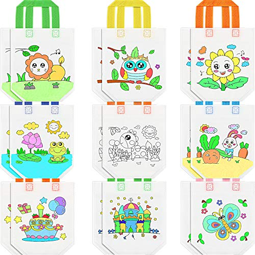 18 Pieces Summer Coloring Goodie BagsReusable Party Favor Bags Graffiti Goodie Bags Color Your Own Art Goodie Bags for Birthday Party Celebration Tea Party Wedding DIY Crafts, 9 Styles