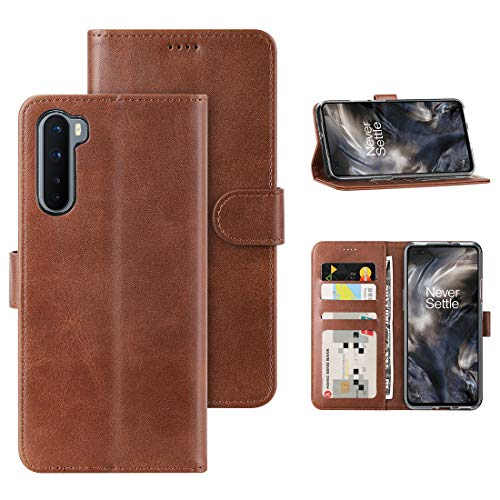 Foluu Oneplus Nord Case, Oneplus Nord 5G 2020 Case Cover, [Slim Fit] [Stand Feature] Flip Leather Wallet Case with Card Slot Magnetic Closure Bumper TPU for Oneplus Nord 5G 2020 (Brown)