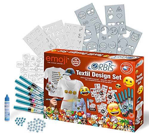 Orbis 30452 Textiel Design Set EMOJI Textielverf voor het spuiten op textiel Airbrush-accessoires, voor kinderen en alle andere creatieven, gekleurd