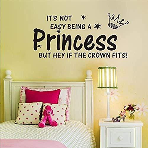 Pegatinas De Pared Princess Crown Decoraciones Para El Hogar Para Sala De Estar Habitación De Niña Diy Calcomanías Para El Hogar Vinilo Mural Para Habitación Art Posters Negro 27 × 57Cm