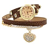 Women's Fashion Rhinstone Faux Leather Wrap Bracelet Quartz Watch with Heart Pendant (Brown)