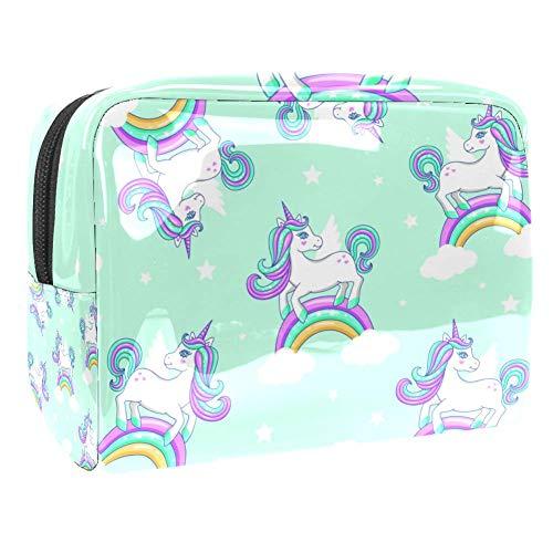 Trousse de toilette multifonction pour femme Motif nuages arc-en-ciel licorne
