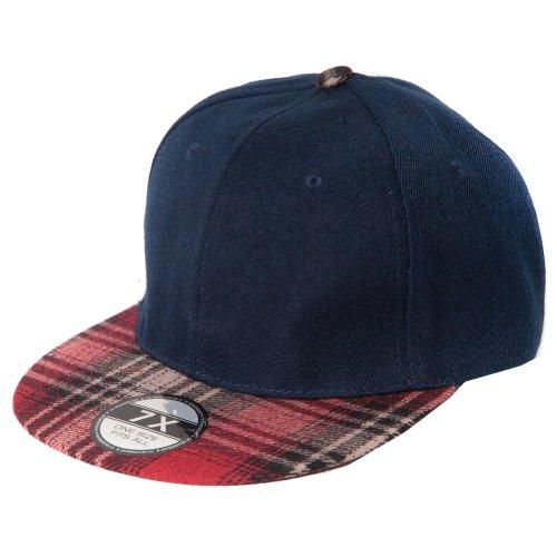 Accessoryo - Bleu Marine Cap Flatbill Relance avec Écossais Conception De Pointe Avant Tartan
