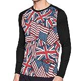 イギリス アメリカ 国旗 背景 メンズ Tシャツ ラグラン 長袖 クルーネック ベースボールシャツ 吸汗速乾 無地 カジュアル スポーツ トップス