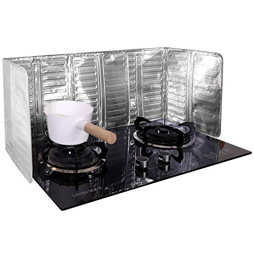 N-brand 2 piezas a prueba de salpicaduras, protector de aceite de aluminio antiadherente a prueba de salpicaduras de aceite de 3 lados para cocina