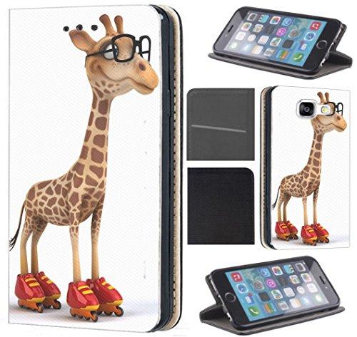Samsung Galaxy J3 2017 J330 / Dous Hülle von CoverHeld Premium Flipcover Schutzhülle Flip Case Motiv (629 lustige Giraffe mit roten Rollschuhen Cartoon)