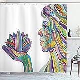 ABAKUHAUS Vistoso Cortina de Baño, Actitud de la Yoga en la Flor de Loto, Material Resistente al Agua Durable Estampa Digital, 175 x 200 cm, Multicolor