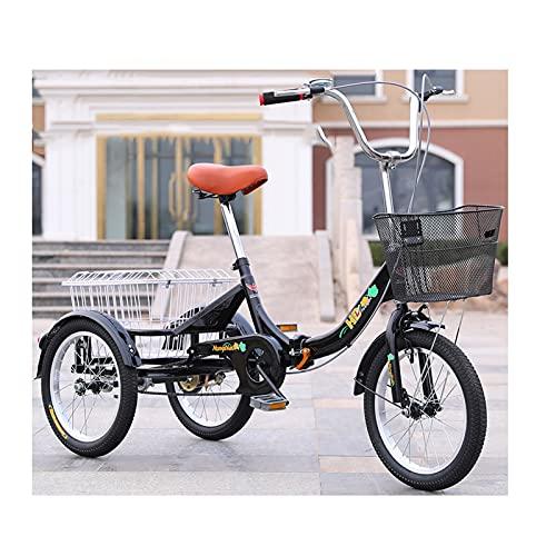 zyy Triciclo para Adultos con Cestas Rueda de 16 Pulgadas Bicicleta de Triciclo Plegable 1 Marchas de Crucero Triciclo con Cesta para Compras de Deportes Al Aire Libre Negro