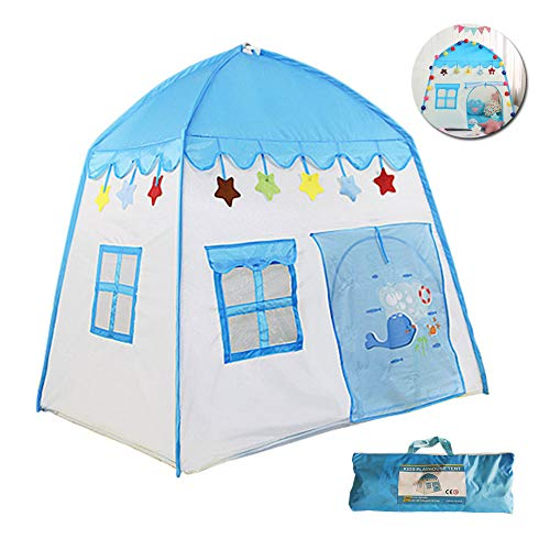 MXYPF Kids Castle Play Tent, Blue Whale/Cartoon Cat House Tents Folding Prince Princess Playhouse, Indoor/Outdoor for Girls Boys