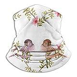 Towel&bag Pasamontañas de microfibra con diseño de pájaros con flores de corazón, color negro