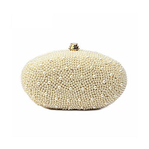 Hochzeitstasche Perlen besetzte Brauttasche Clutch Damentasche zum Brautkleid Goldener Verschluss Clip mit Diamantoptik Innenfutter in Seidenoptik