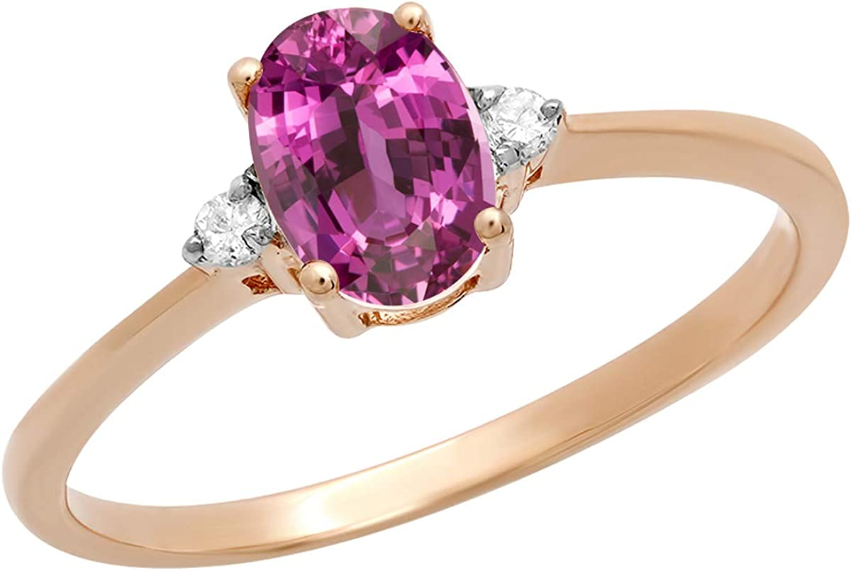 Dazzlingrock Collection 18K 7X5 MM Oval Pink Sapphire & Round Diamond Bridal Promise Engagement Ring, Rose Gold, Size 4