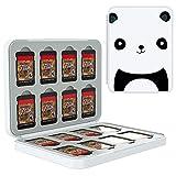 TiMOVO Speicherkarten Hülle für 16 Spielkarten und 16 SD-Karten Kompatibel mit Switch OLED Modell 2021/Switch/Switch lite, Aufbewahrung Tasche Memory Card Organizer mit Mustern - Weiß Panda