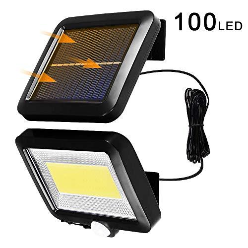 Solarlampen für Außen, 100 LED Solar Strahler Solarlampe mit Bewegungsmelder, P65 Wasserdicht Super Hell Solarleuchte für Garten Garage Patio