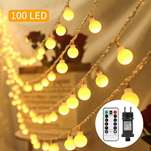 Lichterkette außen, ECOWHO 100 LEDs Kugel Lichterkette strombetrieben mit Timer & Fernbedienung, 8 Modi & IP65 Wasserdichte Lichterketten für Zimmer, Balkon, Innen, Weichnachten(Warmweiß)