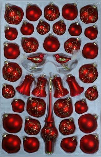 Obtén lo ultimo Surtido con con con klingenden campanas rojo Mate Enrojoaderas 39piezas árbol de Navidad Joyas y soplado, handdekoriert Lauscha el original  el mas de moda