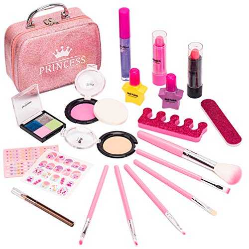 Bikilin's toy Kids Makeup Kit for Girls, 21Pcs Washable Make up Set for Girls, Real Play Makeup for Kid Toddler Little Girl Toys Age 3-12