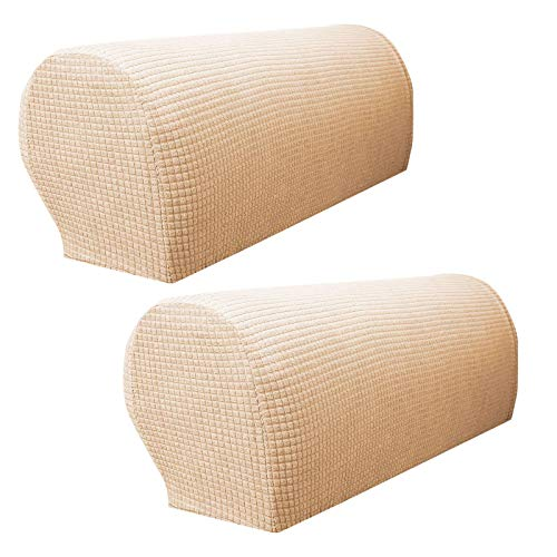 ZHFEL Sofa Armrest Covers Waterproof Anti-Slip Armchair Slipcovers Stretch Anti-Stain Couch Arm Cover Furniture Protector for Loveseat Recliner Sofa Chairs Set of 2-cream color