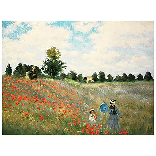 Legendarte - Stampa su tela - Campo Di Papaveri - Claude Monet - Quadro su Tela, Decorazione Parete cm. 40x50