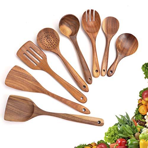 SOPRETY Kochutensilien Set Holz 8-TLG Küchenhelfer Set Kochgeschirr Küchenutensilien Küchenwerkzeug für Antihaft-Pflanne oder Kochgeschirr Hitzebeständig Teakholz