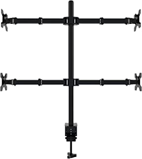 ELECWISH 4 Monitor Desk Mount Stand Height Adjustable Quad Monitor Stand with Full Articulation and Desk Clamp Holds 4 Screens up to 30 inches