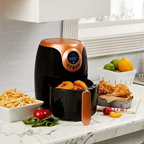 Copper Chef 2 QT Air Fryer - Turbo Cyclonic Airfryer With Rapid Air Technology For Less Oil-Less Cooking. Includes Recipe Book (Black)