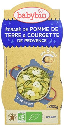 Babybio Bols Ecrasé de Pomme de Terre/Courgette de Provence 2x200 g - Lot de 6