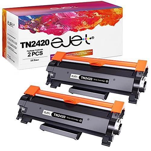 ejet Compatibili Cartucce di Toner Sostituzione per Brother TN2420 TN2410 per MFC-L2710DW HL-L2350DW DCP-L2530DW HL-L2370DN DCP-L2510D HL-L2375DW HL-L2310D MFC-L2730DW L2550DN (Nero, 2-Pack)