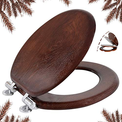 Round Toilet Seat Natural Wooden Toilet Seat with Quietly Close, Quick Release Hinges American Standard, Easy Install, Easy Clean by Angel Shield (Round, Dark Walnut)
