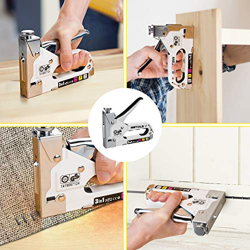 WETOLS Staple Gun, Heavy Duty Staple Gun, 3 in 1 Manual Nail Gun with 2400 Staples(D, U and T-Type), for...
