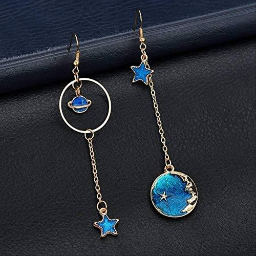 Dames oorbellen sets hoepels blauwe ster maan lange oorbellen voor vrouwen asymmetrische raket vliegtuigen planeet oorbellen meisje vrouwelijke cadeau BrincoA