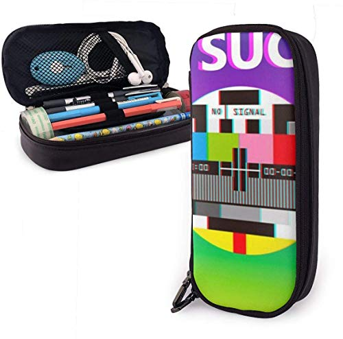 TV Sucks Logo Leather Pencil Case Pouch Zippered Pen Box School Supply for Students,Big Capacity Stationery 3D Nanotechnology Printed Box for Girls Boys and Adults
