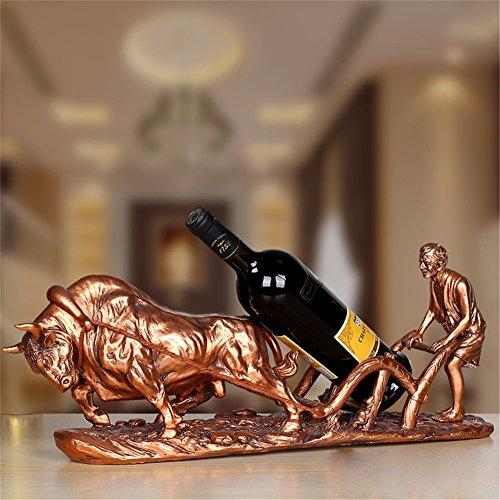 LL-COEUR Porte-Bouteille Décoration Casier à Vin Original Support pour Bouteille Sculpture Artisanat Forme Bétail et Agriculteur Idée Cadeau (cuivre)