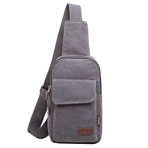 Männer Brusttasche Rucksack Canvas Crossbody Bag Sport Bag Backpack Schultertasche Umhängetasche Sling Bag für Männer Frauen Dunkelgrau