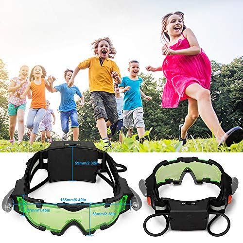 AGM Kids Night Vision Goggles, Adjustable Spy Gear Night Mission Goggles with Flip-Out Lights Green Lens