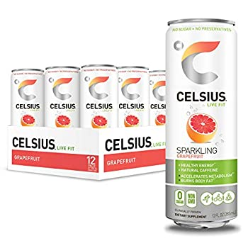 CELSIUS Sweetened with Stevia Sparkling Grapefruit Fitness Drink Zero Sugar 12oz Slim Can  Pack of 12