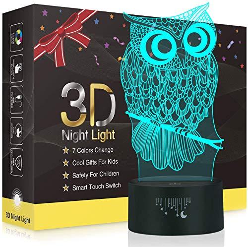 Eule 3D Lampe,Besrina LED Nachtlicht Illusion Lampen 7 Farben ändern Berührungssteuerung USB Optische schreibtischlampe, Nachttischlampen für Kinder Weihnachten Geburtstag Beste Geschenk Spielzeug