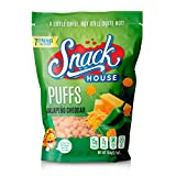 Snack House High Protein Low Carb Keto Snacks, Gluten Free Healthy Protein Puffs - No Sugar Added, Savory Diet Food for Adults and Kids, Jalapeño Cheddar, 7 Servings