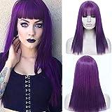 TANTAKO® Pelucas Largas Púrpuras para Mujeres peluca de cosplay sintética recta de disfraces de Halloween con explosión