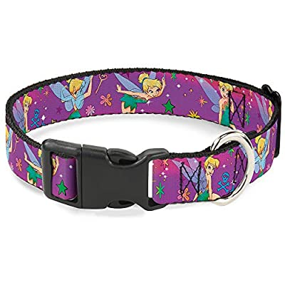 """Buckle-Down Plastic Clip Collar - Tinker Bell Poses/Flowers/Stars/Skull Purple - 1/2"""" Wide - Fits 6-9"""" Neck - Small"""