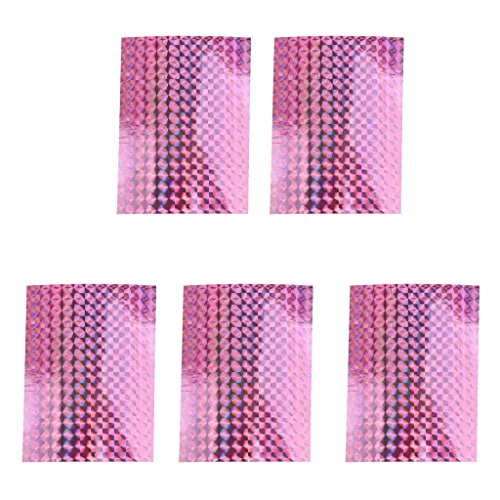 MonkeyJack 5 Pieces Prism Color Shifting DIY Holographic Fishing Lure Tape Adhesive Reflective Prism Scale Lure Making 3D Craft in 7 Colors - Pink